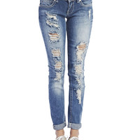 Almost Famous Destroyed Jeans   Wet Seal