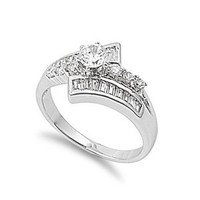 Sterling Silver Round Cut Clear Cubic Zirconia CZ Promise Engagement Ring