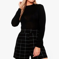 Plus Loren Check Print Flippy Short