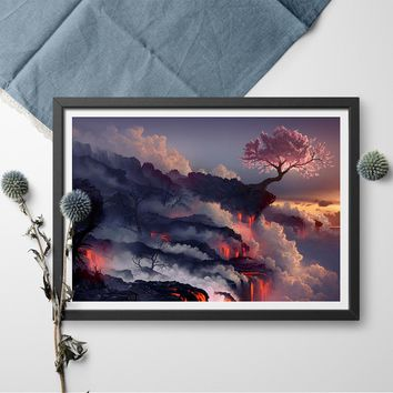Lava with Cherry Tree Wall Art Poster And Print Drawn Canvas Painting Volcano Magma Cherry Blossom Canvas Art Print Home Decor