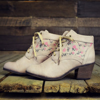Cheyenne Fields Beige Floral Ankle Boots