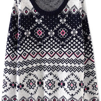 Geo Floral Knit Sweater