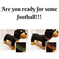 Mini dog collar with footballs, Mini dog collar with the yard line numbers and footballs, Dog lover gifts, Gifts for your dogs.