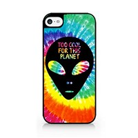 Too Cool For This Planet - Alien - Tie Dye - Hipster - iPhone 5C Black Case (C) Andre Gift Shop