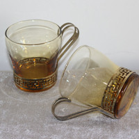 Pair of vintage Libbey amber cups with gold Greek key gold handle and holder, teacups, coffee cups, amber glass
