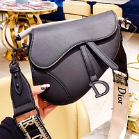 DIOR New fashion leather shoulder bag saddle bag women Black