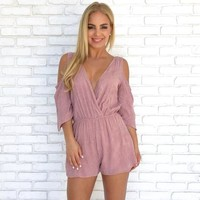 La Vie En Rose Embroider Romper in Mauve