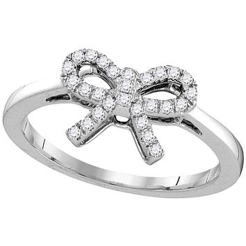 10kt White Gold Womens Round Diamond Ribbon Bow Knot Ring 1/6 Cttw 105858