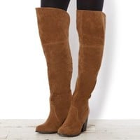 Tan Suedette Chunky Heel Over Knee Boots