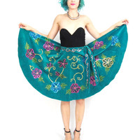 Vintage  Betsey Johnson Circle Skirt Velvet Full Skirt Hand Painted Floral Sequins Turquoise 80s Rockabilly Pinup 50s Style Skirt (M/L)
