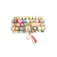 Dangle and Gold 5 Piece Bracelet Stack Sets in Party Pink