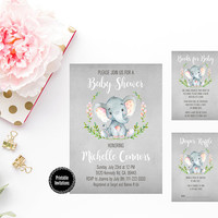 Printable Elephant Baby Shower Invitation, Watercolor Floral, Books for Baby Insert, Diaper Raffle Insert, Rustic Baby Shower Invitation