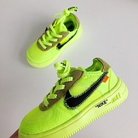 Nike Air Force 1 AF1 x Off White Low Casual Skate Shoes Kid Children Shoes KAA2002 187 Flourescent Green 22-35