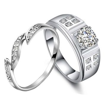 Personalized 1 Carat Diamond Couples Anniversary Gold Rings for Two