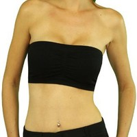 ToBeInStyle Women's Bandeau Strapless Padded Bra w/ Adjustable/Removable Foam Padding