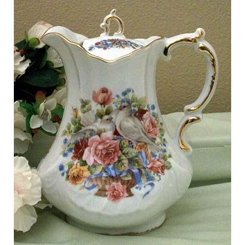 Antique Scroll Doves and Roses Porcelain Teapot