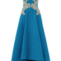Marchesa Notte Gilded Royal Teal Gown