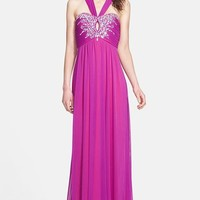 Way-In Embellished V-Strap Mesh Gown (Juniors)