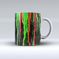 The Running Neon Green and Coral WaterColor Paint ink-Fuzed Ceramic Coffee Mug