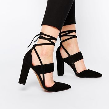 Whistles Black Suede Ankle Tie Heeled Shoes