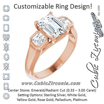 Cubic Zirconia Engagement Ring- The Alana Marie (Customizable 3-stone Cathedral Radiant Cut Design with Twin Asscher Cut Side Stones)