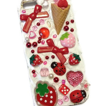 Kawaii Decoden Mobile Phone Case - iPhone 5, Kitsch, Whipped Cream, Ice-cream Cone, Strawberries, Ladybugs, Pink Red Green White, Daiso