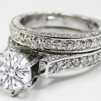 Engagement Ring - Pave Eternity Round Diamond Cathedral Engagement Ring & Matching Wedding band - ES623BS