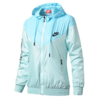 NIKE Fashion New Letter Hook Print Contrast Color Splice Women Hooded Long Sleeve Sunscreen Coat Top Windbreaker Blue