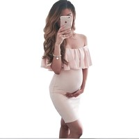 2018 Summer fashion maternity Dresses Pure Color Strapless Slim Fit Maternity Dresses falbala Pregnant woman clothing Plus size