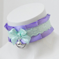 Kitten play collar - Mint lavender - ddlg little princess bdsm choker with bell and leash ring - kawaii cute fairy kei violet lilac green