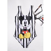 Summer Newest Women Stylish Mickey Print Stripe Vest Type Backless One Piece Bikini Swimsuit Bathing I13665-1