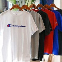 Champion Hot Fashion Classic Unisex Logo Print Cotton Short Sleeve T-Shirt Pullover Top(6-Color) I