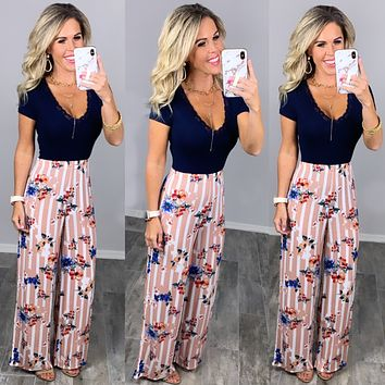 Striped with Floral Pants - Pink