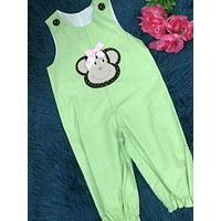 Castle & Crowns Green Embroidery Monkey Overall Romper C