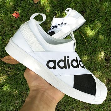 Adidas men and women shoes clover shell head superstar slip on cross strap shoes