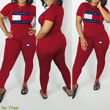 TOMMY HILFIGER Summer Newest Women Casual Print Short Sleeve Top Pants Trousers Set Two-Piece Sportswear Burgundy