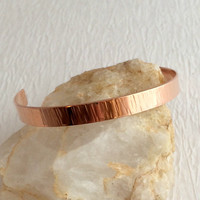 Copper Cuff Bracelet, thin striped hammered textured metal adjustable bangle stacking birthday Mother's Day anniversary gift gifts