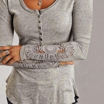 Lace Long Sleeve T-Shirt in Black, Gray or White