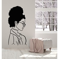 Vinyl Wall Decal Girl Face Profile Portrait Glasses Beauty Salon Stickers Mural (g2604)