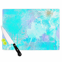 "Li Zamperini ""Vintage Dreams"" Teal Painting Cutting Board"