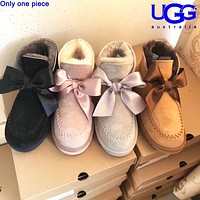 U UGG fashionable bow-tied velvet uggs are hot sellers of casual ladies' wool boots