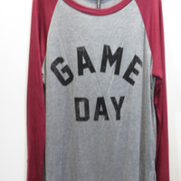 Game Day Graphic Baseball Tee -Burgundy