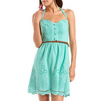 Embroidered Button-Front Halter Dress: Charlotte Russe