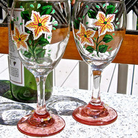 Hand Painted Wine Glasses With Flowers And Matching Wine Charms, Ready To Personalize Glasses
