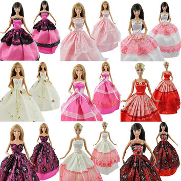 5 Pcs High Quality Fashion Handmade Clothes Dresses Grows Outfit for Barbie Doll dress for girls Random Types and Colors Ship
