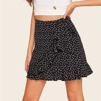 Ruffle Trim Wrap Tie Waist Black Skirt Women Boho Beach Heart Print High Waist Skirt Casual A Line Mini Skirt