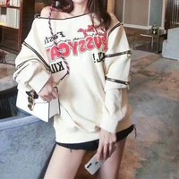 """Gucci"" Fashion Embroidery Irregular Loose Pattern Letter Asymmetric  Long Sleeve Sweater Women Casual Tops"