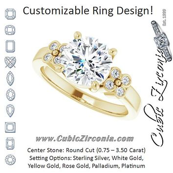 Cubic Zirconia Engagement Ring- The Heidi Grethe (Customizable 9-stone Design with Round Cut Center and Complementary Quad Bezel-Accent Sets)