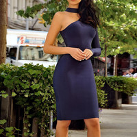 2017 New Arrivals Women Dress Bodycon Bandage Dress Sexy One Shoulder Party Dress Womens Long Sleeve Bandage Dress Blue HL Whole