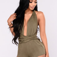 Girls On Tour Romper - Olive